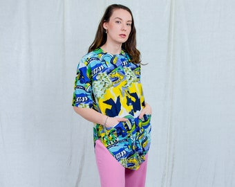 Abstract shirt 80s vintage multi colour blouse pockets rainbow painting short sleeve XL/XXL