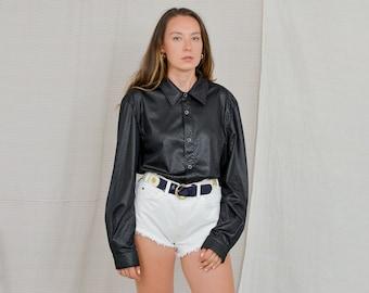 Black snakeskin shirt Vintage 90's animal textured crocodile long sleeve Retro XXL