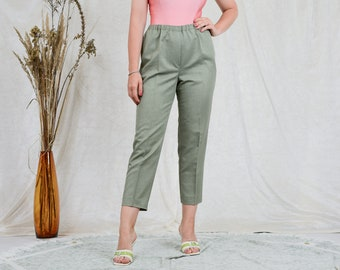 Green pants Nina Holthoff elastic waist trousers tapered leg minimalist high waist vintage XXL/XXXL