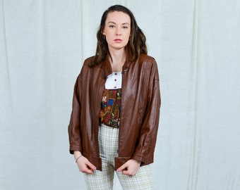 Brown leather jacket vintage 80s spring coat bronze padded shoulders L Large