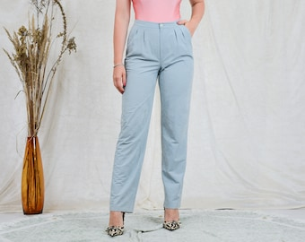 Blue velvet pants W30-31 pleated trousers cigarillos vintage high waisted straight leg mod french minimalism L Large
