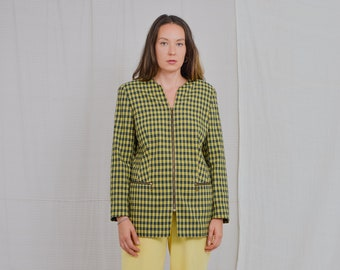 KOMBI Mode 80's blazer mustard blue check Vintage jacket checkered retro full zip L Large