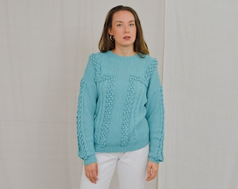Turquoise sweater pompon pullover Vintage 80's light blue M/L