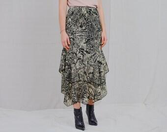 Frill skirt printed beige black abstract vintage elastic waist L Large