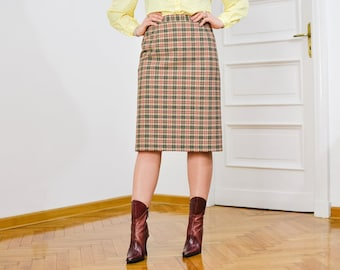 Checkered skirt Vintage 90's geometric patterned red beige L Large