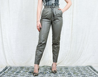Genuine Leather pants grey vintage cigarillos tied waist super high waist tied retro tapered leg 80's S/M