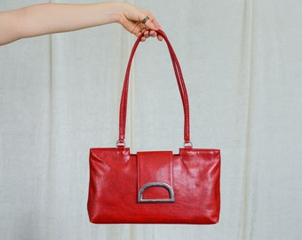 Red handbag vintage rectangular faux leather big bag