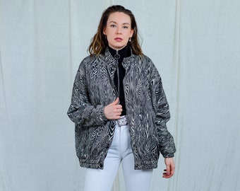 Silk jacket bomber printed zebra black gray vintage 80s spring autumn women reglan sleeve oversized XXL