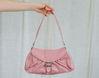 Retro salmon handbag Karen vintage pink faux leather bag