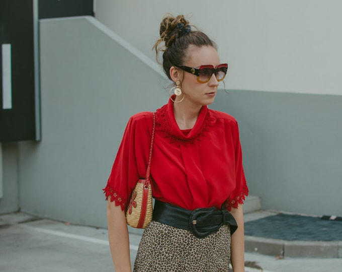 Featured listing image: ALEXIS Style shirt Vintage 80's red blouse retro lace turtle neck top short sleeve oversized XL/XXL