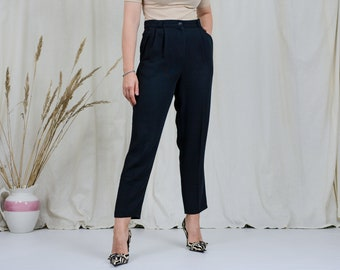 Vintage black pants W32 L28 tapered leg cigarillos super high waist trousers wool elegant french minimalism XL