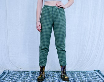 Checkered pants elastic waist relaxed fit high waist trousers vintage grunge green tartan tapered leg M/L