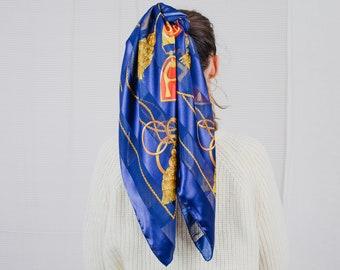 Big vintage scarf retro boho blue striped printed satin headband square 41x41 inches/104x104 cm