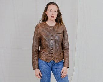 MADDOX leather jacket Vintage 90's brown cropped button up minimalist padded shoulders L Large