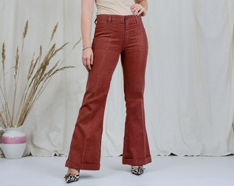 Hippie jeans W34 L33,5 ginger trousers vintage 70s bell bottom leg red L/XL