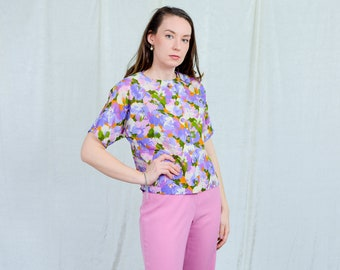 Floral top vintage 80s shirt painting flowers pattern rainbow blouse multi colour short sleeve retro L Large