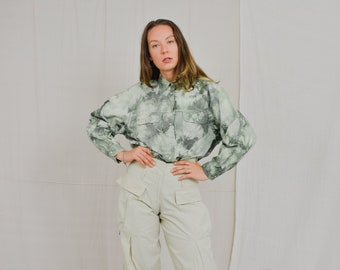 Tie dyed shirt denim Green jeans camouflage Vintage 90's snap up long sleeve cotton oversized XXL/XXXL