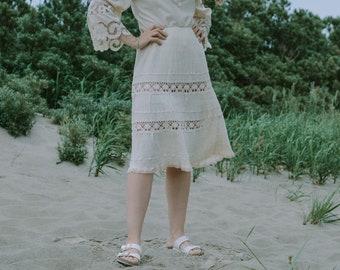Hippie skirt cream boho embroidered strechy minimalist vintage summer floral lace L-XL
