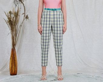 Checkered pants W33 yellow black white vintage high waist trousers tapered leg grunge punks tartan XLXXL