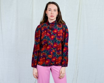 Floral shirt BIBA Pariscop 80s vintage multi colour blouse rose long sleeve L/XL