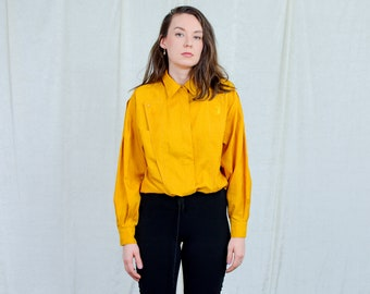 Mustard shirt women vintage long sleeve top 80s retro yellow blouse XXL