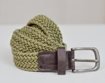Green Braided belt vintage cotton and leather thin khaki