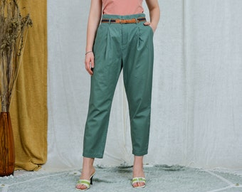 Green linen pants pleated mom minimalist trousers high waist vintage pockets tapered leg elastic waist XXL