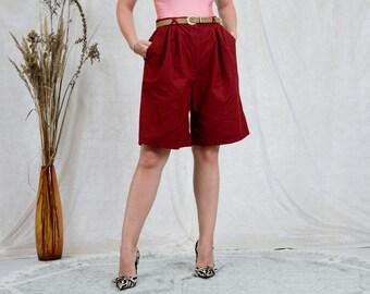 Burgundy shorts W34 vintage super high waist bermuda 90s red summer pants pleated pockets XXL/XXXL