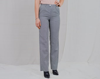 Houndstooth pants W28 L33 patterned pants straight fit leg high waist trousers vintage minimalist S/M