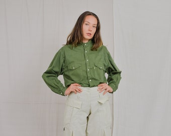 Green denim shirt Military Vintage 90's snap up long sleeve Switcher oversized XL