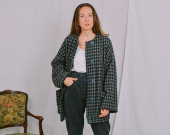 Houndstooth coat Vintage 80's gray minimalist retro spring autumn bomber jacket long sleeve women oversized XXL/XXXL
