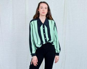 Striped shirt women vintage 80s long sleeve pistachio black green retro blouse XL/XXL