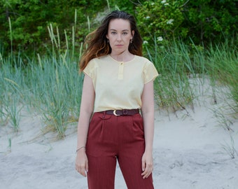Yellow top short sleeve blouse summer minimalist 80s vintage M/L