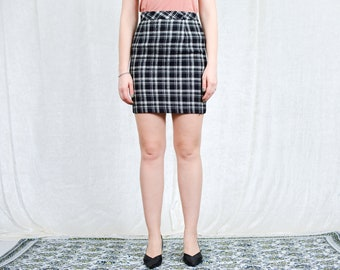 Mini tartan skirt W27 vintage 90s Hammer black white checkered classic woman S Small