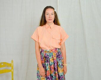 Peach shirt Vintage 90's minimalist top summer orange blouse short sleeve rose gold button up down collared XL/XXL