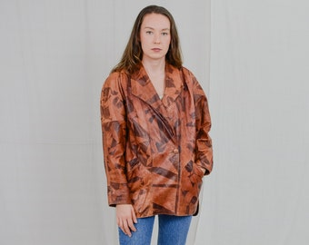 Italian leather jacket NEW Line orange Vintage 80's jacket brown patterned coat genuine bronze reglan sleeve XXL/XXXL