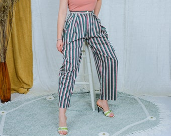 Myrene de Premonville pants W27 relaxed fit striped cotton trousers mom printed summer vintage 80s/90s high waist boho ethnic wide leg M