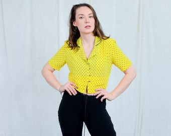 Polka dots top yellow blouse cropped short sleeve shirt sun vintage 80s shirt S/M