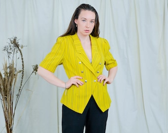 Yellow top vintage 80s striped blouse Trevira summer short sleeve L Large