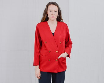 Red blazer Vintage 80's wool jacket padded shoulders tail coat marine style retro oversized L