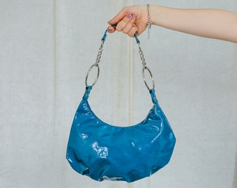 Turquoise handbag blue metallic vinyl vintage faux leather bag