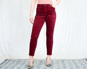 Red corduroy pants maroon vintage 90s high waist skinny trousers tapered leg zip fly L Large