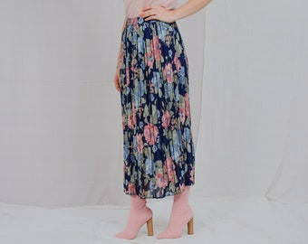 Pleated skirt HIRSCH Vintage 80's rainbow printed flowers high waist multi colour no label one size L-XXXL