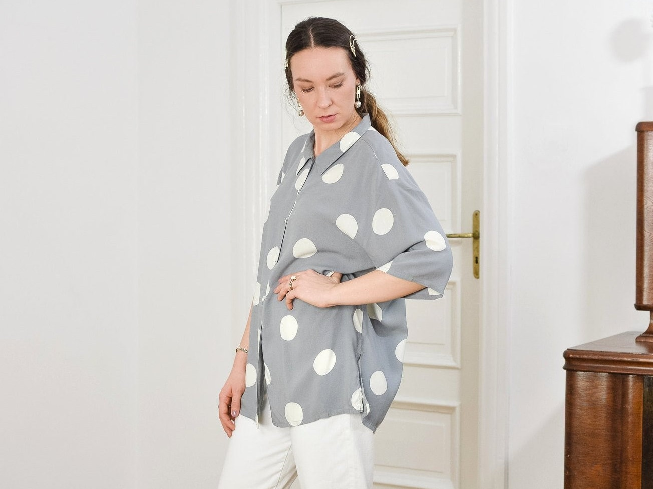 Polka dots shirt gray short sleeve Vintage 90s white dotted beige mod blouse Printed top button up down shoulder pads LXL