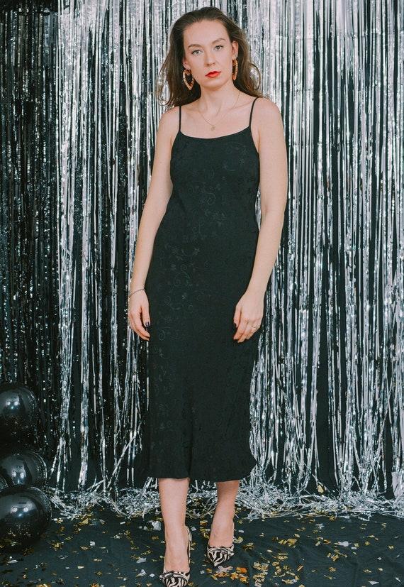 Black slip dress textured maxi nightgown vintage p