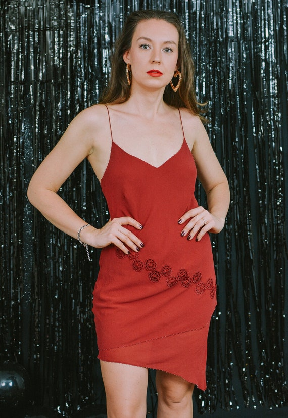 Silk slip dress red nightgown asymmetric spaghetti