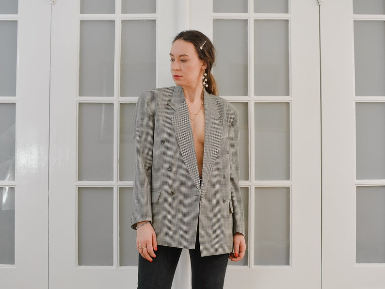 GIRARD blazer wool Vintage 80/'s checkered gray lined coat tartan wool jacket retro double breasted menswear ML