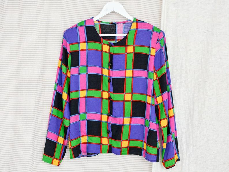Retro shirt 80/'s vintage printed blouse women black purple rainbow long sleeve geometric button up down padded shoulders LXL