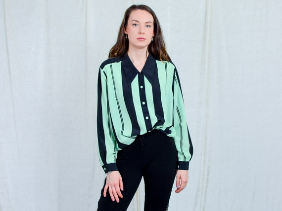 Striped shirt women vintage 80s long sleeve pistac