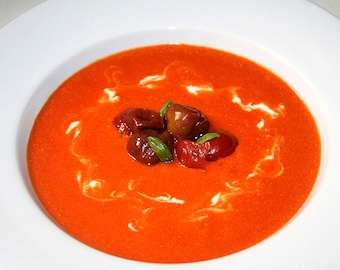 Roasted Red Pepper and Tomato Soup with Ricotta, Printable PDF Recipe with Photos, Instant Digital Download
